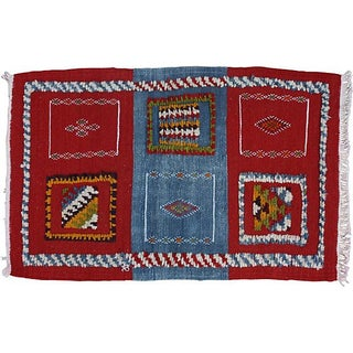 Handwoven Red & Blue Moroccan Rug - 3'6'' x 2'2''