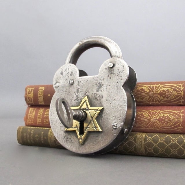 Steel & Brass Antique Padlock From England - Image 3 of 7