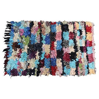 "Moroccan Boucherouite Pile Rug - 4'7"" X 3'"