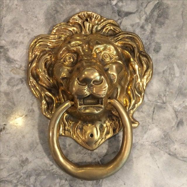 Image of Oversize Brass Lion Head Door Knocker