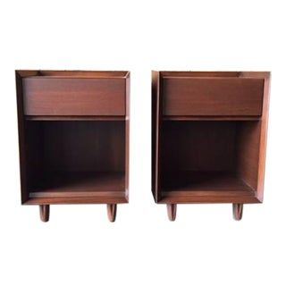 Architectural Modern Refinished Walnut Nightstands by Morris - A Pair