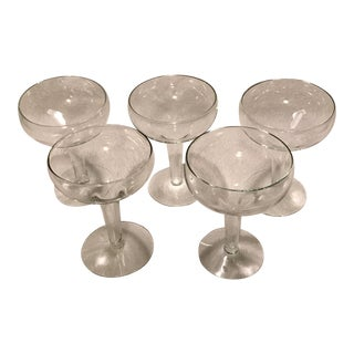 Mid-Century Hollow Stemmed Champagne Glasses - Set of 5