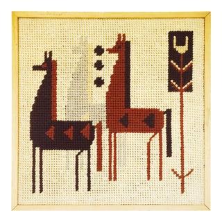 Vintage Llama Needlepoint Wallhanging