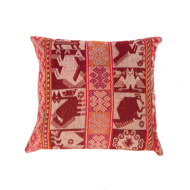 Red Handwoven Peruvian Pillow - Image 1 of 7