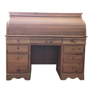 English Old Patina Roll Top Pine Desk