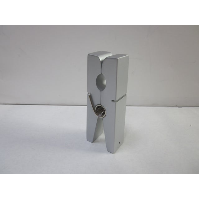 Image of Silver Pop Art Modernist Clothespin Paperclip