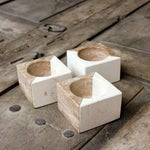 Image of Two Tone Natural Stone Candle Holders - Set of 3