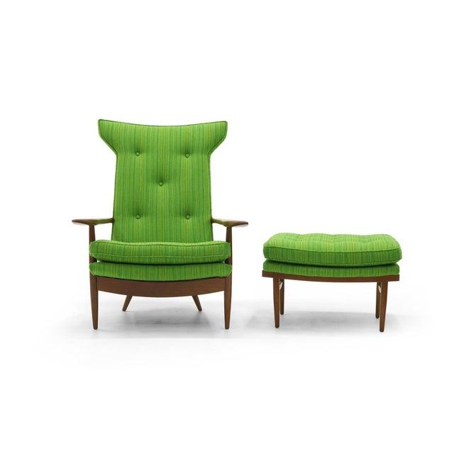 Rare George Nakashima for Widdicomb High Back Lounge Chair and Ottoman - Image 3 of 11