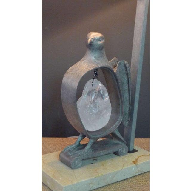 Paul Marra Cast Bronze Rock Dove Lamp in Silvered Bronze - Image 3 of 6