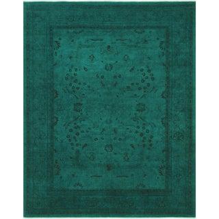 Overdyed Color Reform Shila Teal Wool Rug - 7'10 X 9'11