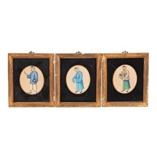 Antique Asian Watercolors - Set of 3