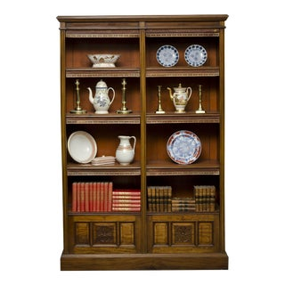 English Antique Victorian Walnut Open Bookcase, Circa 1870