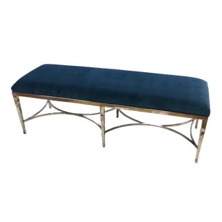Bernhardt Peacock Blue & Chrome Bench