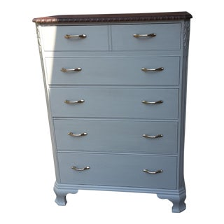 Restoration Hardware Inspired 5 Drawer Wood Highboy Dresser