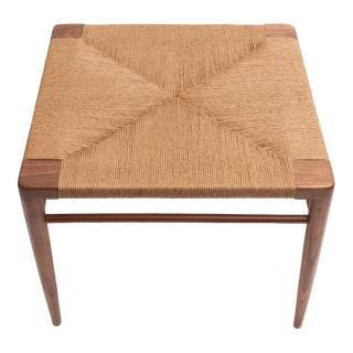Hand Woven Rush and Walnut Ottoman by Smilow Furniture