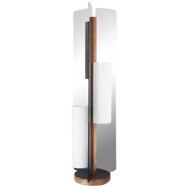 Image of Mid Century Triple Way Wood and Grey Lamp