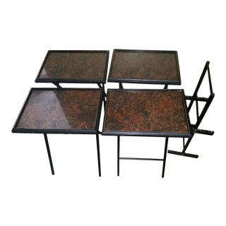 Regency Mid-Century Artex Tv Tray Tables - Set of 4