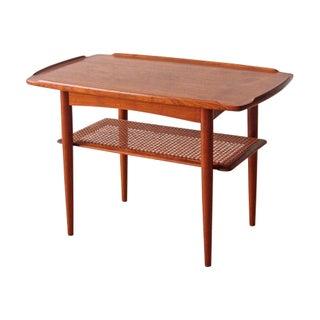Poul Jensen for Selig Danish Teak Cane Side Table