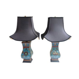 Chinese Cloisonne Lamps- A Pair