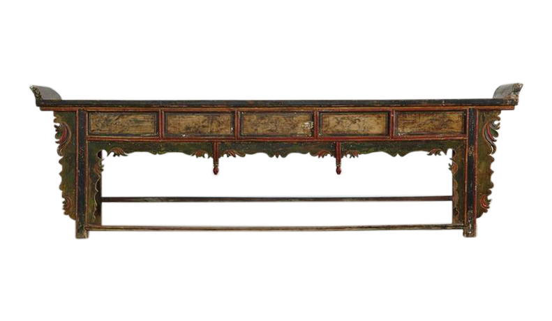 Extremely Long Antique Hand Carved And Painted Chinese Altar Table   Image  1 Of 10