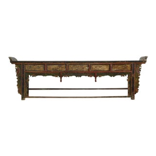 Extremely Long Antique Hand-Carved and Painted Chinese Altar Table