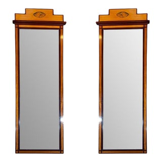 Antique Pier Satinwood Mirrors - A Pair