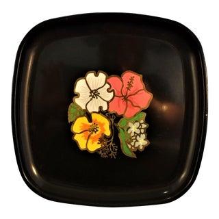 Couroc Mid Century Modern Hibiscus Art Tray