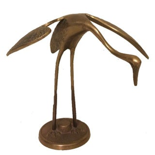Brass Egret Bird Figurine