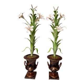 Chic Old School Mid Century Italian Tole Urns With Tole Flowers - a Pair
