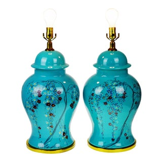 Vintage Large Scale Aquamarine Blue Hand Painted Asian Ginger Jar Lamps - A Pair