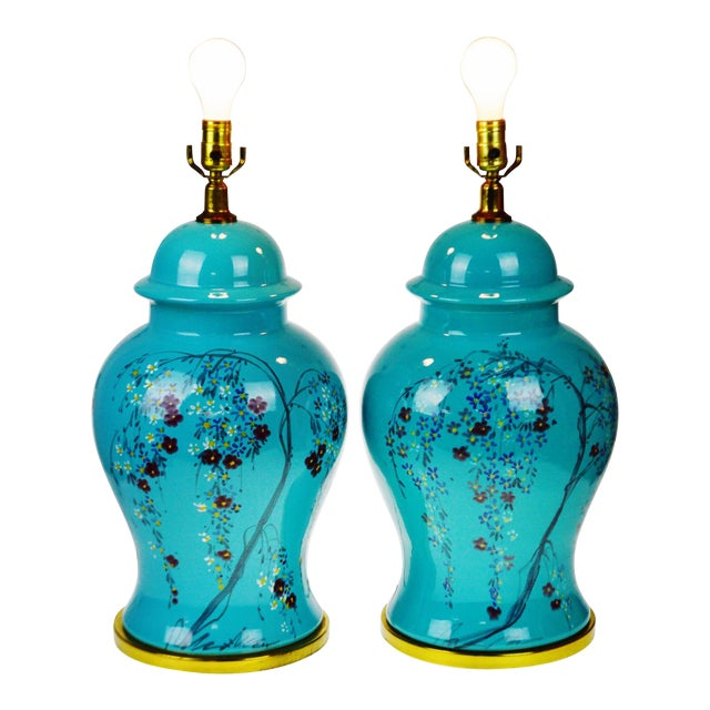 Vintage Large Scale Aquamarine Blue Hand Painted Asian Ginger Jar Lamps - A Pair - Image 1 of 11