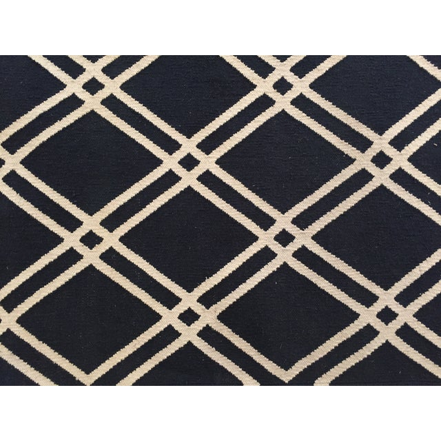 Custom Made Trellis Cotton Dhurrie Rug - 8' X 10' - Image 4 of 5
