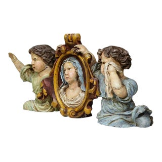 17th Century French Hand-Carved Polychrome Sculpture With Virgin Mary and Putti