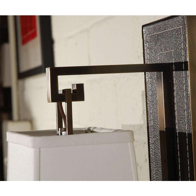 Paul Marra Black Leather Back Sconce with Tapered Linen Shade - Image 5 of 6
