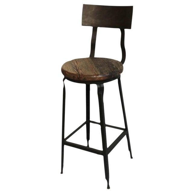 Reclaimed Wood & Iron Bar Stool - Image 1 of 3