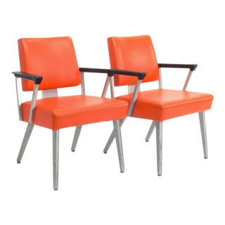 Orange GoodForm Aluminum Armchairs - A Pair