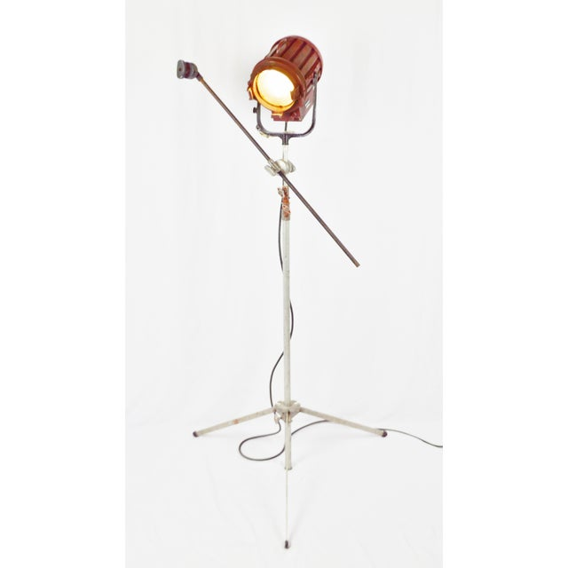 Vintage Mole Richardson Professional Studio Stage Spotlight Industrial Floor Lamp with Boom Attachment - Image 8 of 11