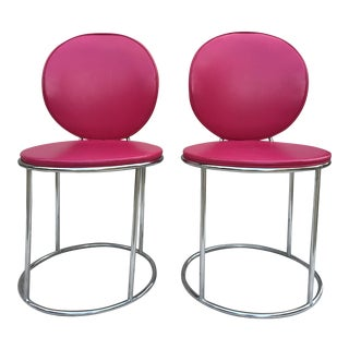 Mid Century Pink Vinyl Accent Chairs - a Pair