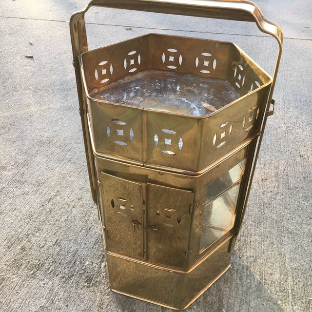 Brass Enclosed Table & Storage Stand - Image 6 of 6