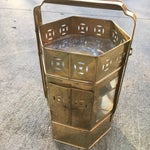 Image of Brass Enclosed Table & Storage Stand
