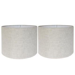 New, Ready to Ship, Natural Linen Fabric, Handcrafted Drum Shades, Set of Two