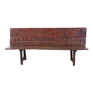 18th Century Spanish Rustic Carved Chestnut Bench