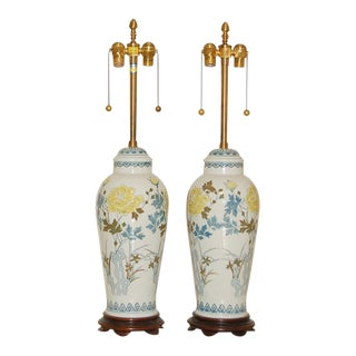 Marbro Hand Painted Porcelain Lamps