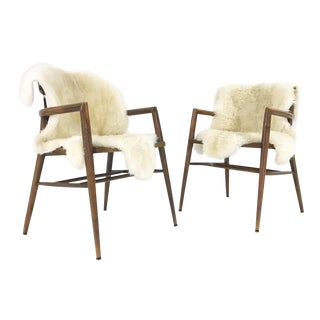 Vintage Paul McCobb Captain Chairs With Brazilian Sheepskins - a Pair