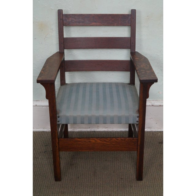 gustav stickley antique mission oak set of 6 dining chairs