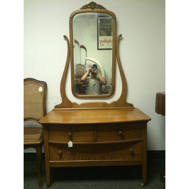 Solid Oak Antique Dresser/Vanity - Image 2 of 7