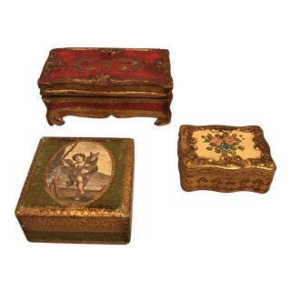 Italian Florentine Wood Boxes - Set of 3