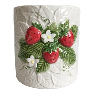 Vintage Hand-Painted Strawberry Cachepot