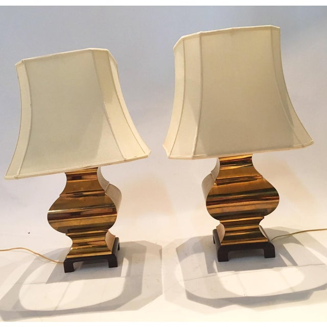 Image of Gold Mid-Century Table Lamps - A Pair