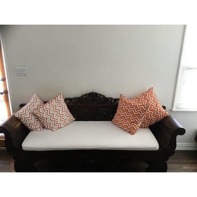 Image of Antique Indonedian Style Wooden Loveseat Sofa